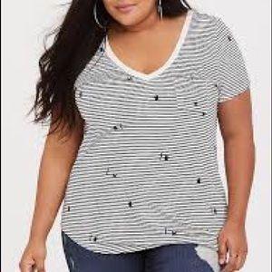Torrid Black Kitty Cat White Stripe V-Neck Pocket Tee Shirt